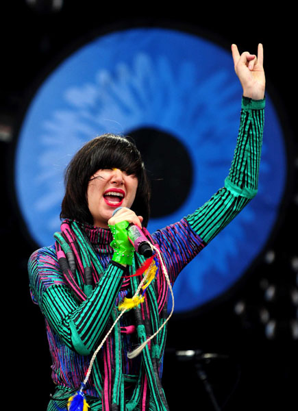 The Yeah Yeah Yeahs singer Karen O performs at Leeds Festival 2009. Held at Bramham Park.