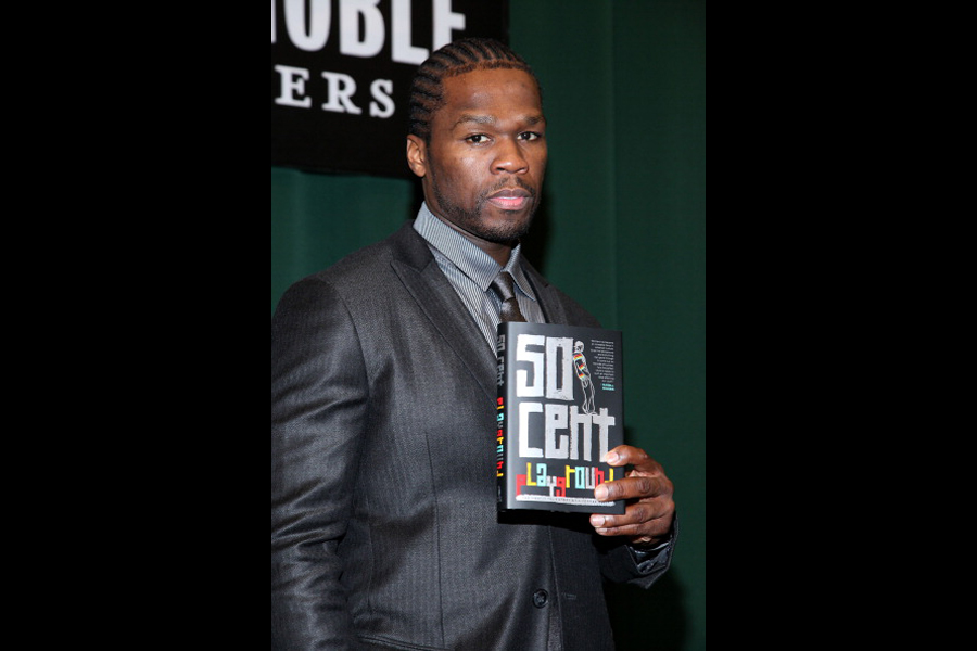 """NEW YORK, NY - NOVEMBER 04:  Curtis """"50 Cent"""" Jackson promotes his new book """"Playground"""" at the Barnes & Noble Tribeca on November 4, 2011 in New York City.  (Photo by Rob Kim/Getty Images)"""