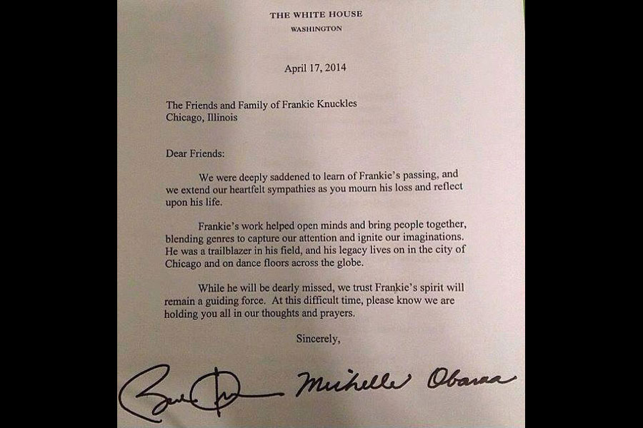 Barack Obama's Letter To Frankie Knuckles' Friends And Family Is Just Right