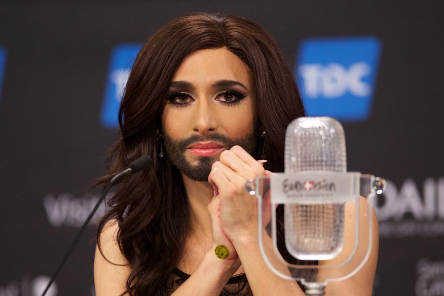 COPENHAGEN, DENMARK - MAY 10: Conchita Wurst of Austria attends a press conference after winning the Eurovision Song Contest 2014 on May 10, 2014 in Copenhagen, Denmark. (Photo by Ragnar Singsaas/Getty Images)