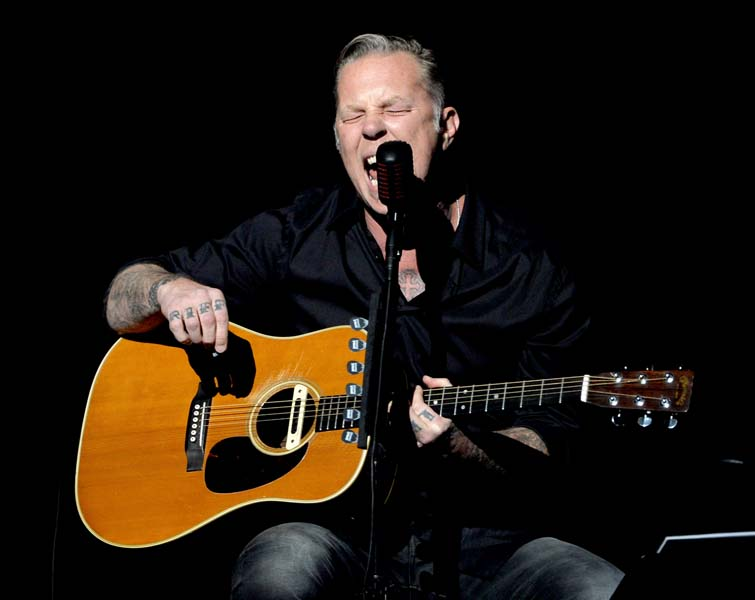 LOS ANGELES, CA - MAY 12:  Musician James Hetfield of Metallica performs onstage at the 10th Annual MusiCares MAP Fund Concert to raise funds for MusiCares' addiction recovery resources at Club Nokia on May 12, 2014 in Los Angeles, California.  (Photo by Kevin Winter/WireImage)