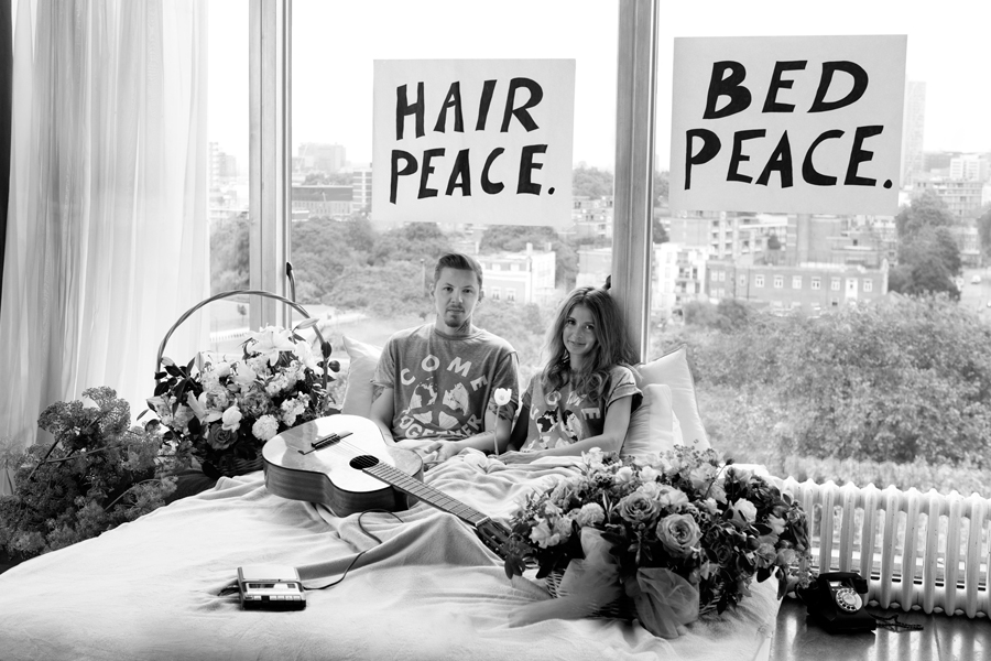 Professor Green And Millie Mackintosh Recreate John Lennon Yoko Onos Classic Bed In Image