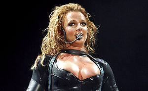 US pop star Britney Spears performs during the first concert of her Germany tour in Frankfurt. The 22-year-old singer presented her new album 'In the Zone' and the show marked her radical image change from a schoolgirl to a vamp.