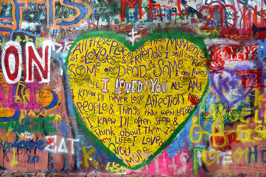 John Lennon mural in Prague painted over with graffiti saying \'Wall ...