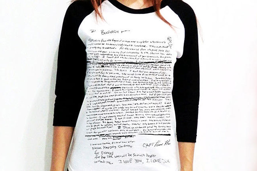 T shirts depicting Kurt Cobain s suicide note taken down from eBay