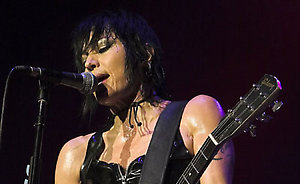 Joan Jett and the Blackhearts perform at the NEC Arena in Birmingham, supporting Motorhead and Alice Cooper.