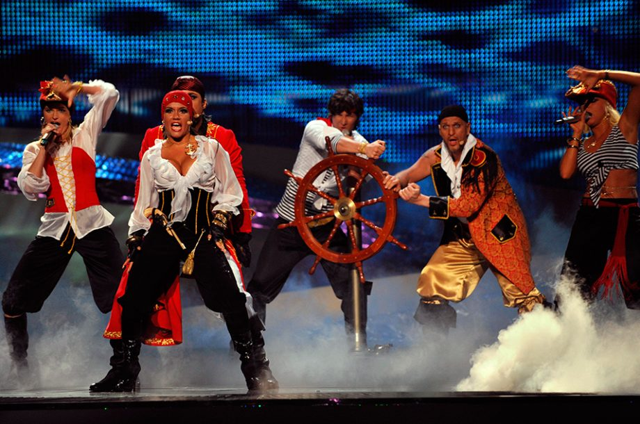 Singers dressed as pirates
