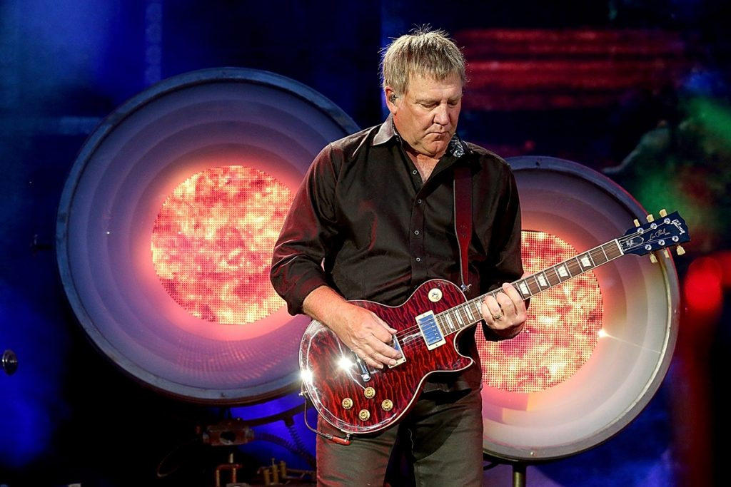 AUSTIN, TX - MAY 16:  Alex Lifeson of Rush performs in concert at the Austin360 Amphitheater on May 16, 2015 in Austin, Texas.  (Photo by Gary Miller/Getty Images)