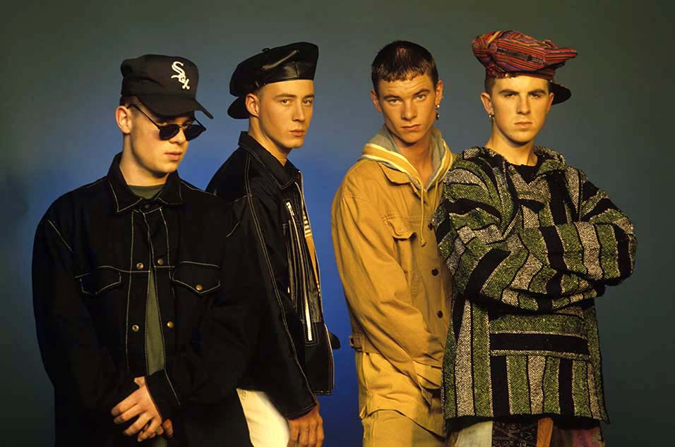 East 17 (Brian Harvey, John Hendy, Tony Mortimer and Terry Coldwell), pop group, circa 1994. (Photo by Tim Roney/Getty Images)