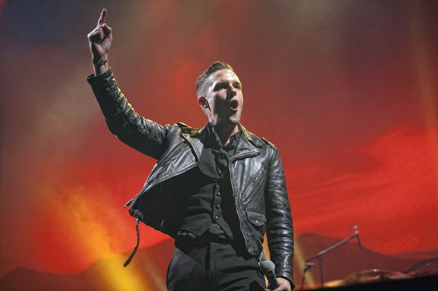 GLASGOW, UNITED KINGDOM - OCTOBER 26th: Brandon Flowers of The Killers performs on stage at SEEC on October 26th , 2012 in Glasgow, United Kingdom. (Photo by Ross Gilmore/IPC Media/NME)