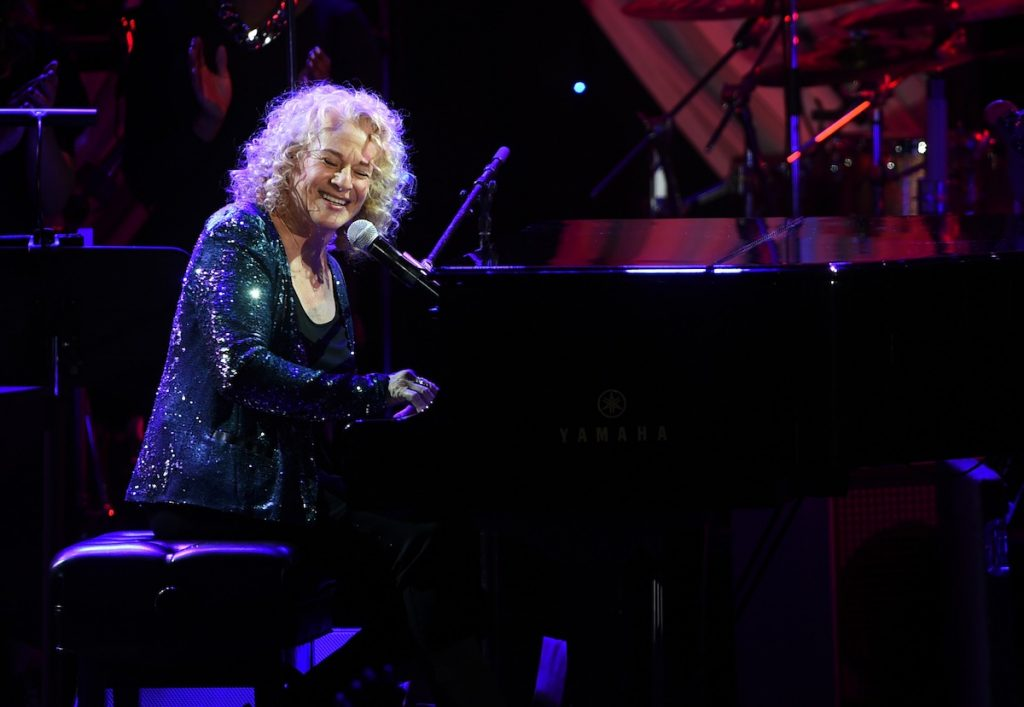 LOS ANGELES, CA - FEBRUARY 07:  Singer Carole King onstage at the Pre-GRAMMY Gala and Salute To Industry Icons honoring Martin Bandier at The Beverly Hilton Hotel on February 7, 2015 in Beverly Hills, California.  (Photo by Jason Merritt/WireImage)
