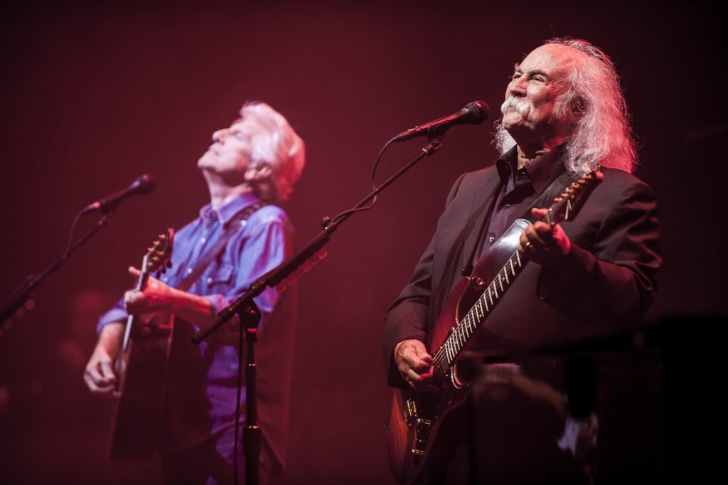 LONDON, ENGLAND - SEPTEMBER 12:  Graham Nash and David Crosby of Crosby Stills and Nash perform at Eventim Apollo on September 12, 2015 in London, England.  (Photo by Nick Pickles/Redferns)