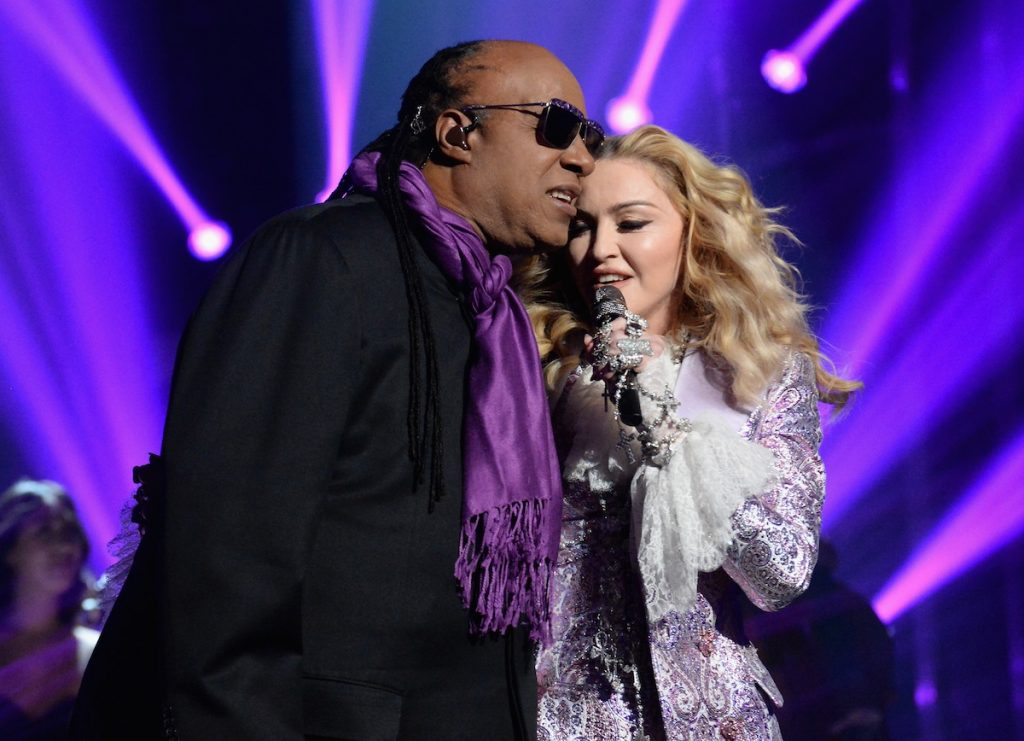 LAS VEGAS, NV - MAY 22:  Recording artists Stevie Wonder (L) and Madonna perform a tribute to Prince onstage during the 2016 Billboard Music Awards at T-Mobile Arena on May 22, 2016 in Las Vegas, Nevada.  (Photo by Jeff Kravitz/BBMA2016/FilmMagic)