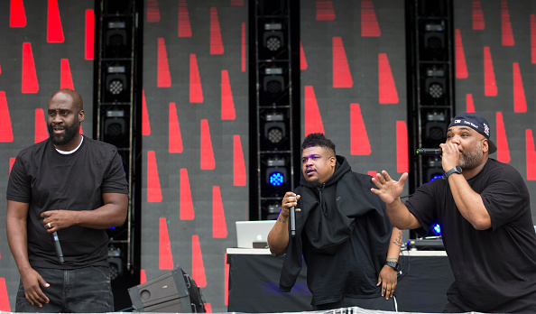 MANCHESTER, ENGLAND - JUNE 12: (L-R) Posdnuos, Dave and Maseo perform with De La Soul  on the second day of the Parklife Festival on June 12, 2016 in Manchester, England. (Photo by Jon Super/Redferns)