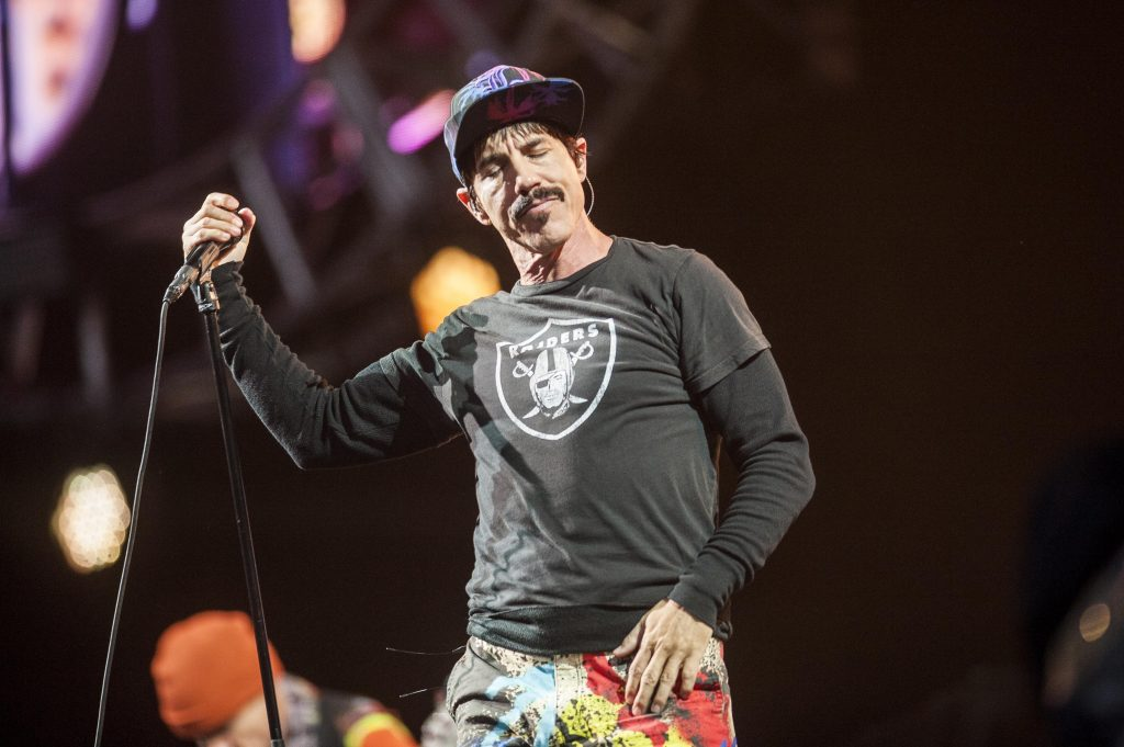 Anthony Kiedis of the Red Hot Chili Peppers performs on Day 3 of the T in the Park festival at Strathallan Castle on July10, 2016 in Perth, Scotland. (Photo by Ross gilmore)