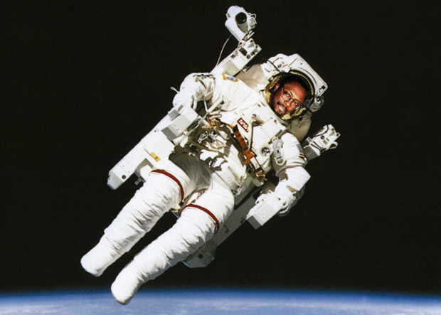 science, space, nasa, astronaut floating in orbit above the earth during spacewalk.
