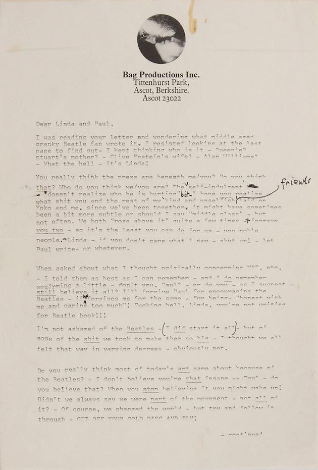 The Beatles: Read John Lennon's sweary letter to Paul McCartney as