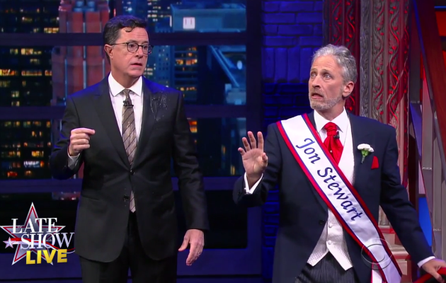 Jon Stewart and Stephen Colbert slam Donald Trump in election eve special