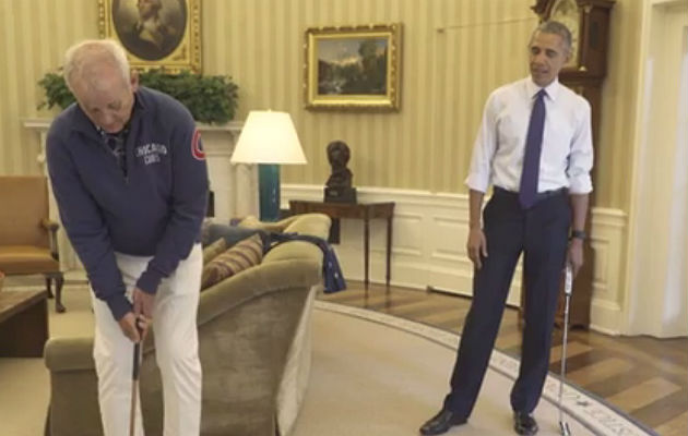 Bill Murray Playing Golf With Obama In The Oval Office