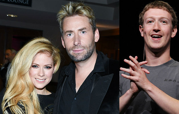 Avril Lavigne, Chad Kroeger and Mark Zuckerberg