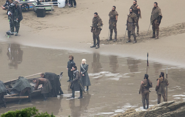 Emilia Clarke, Kit Harington and Peter Dinklage on the set of Game of Thrones