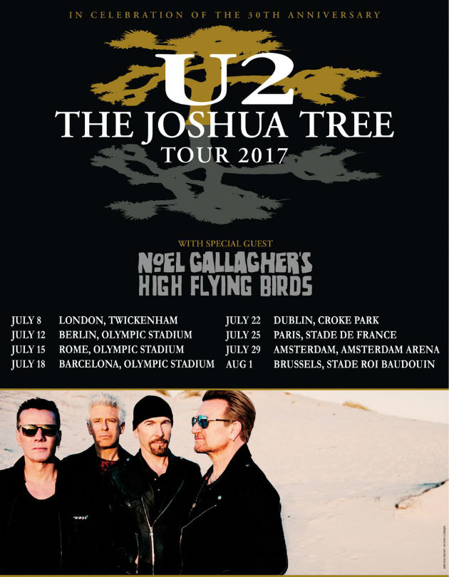 U2 and Noel Gallagher 'Joshua Tree' tour dates
