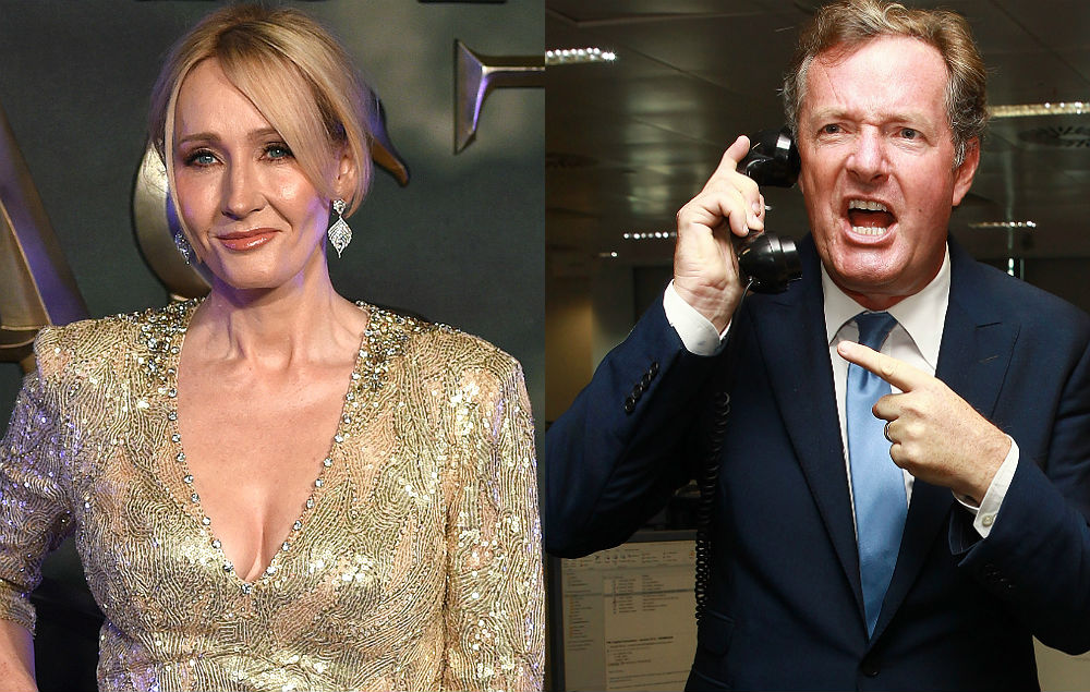JK Rowling and Piers Morgan