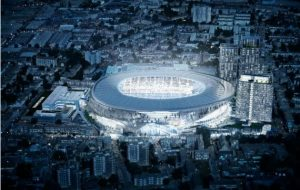 Artist's impression of the new Tottenham Hotspur stadium