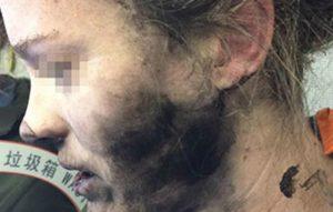 Woman exploding headphones