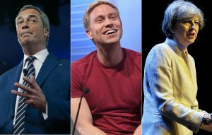 Nigel Farage, Russell Howard and Theresa May
