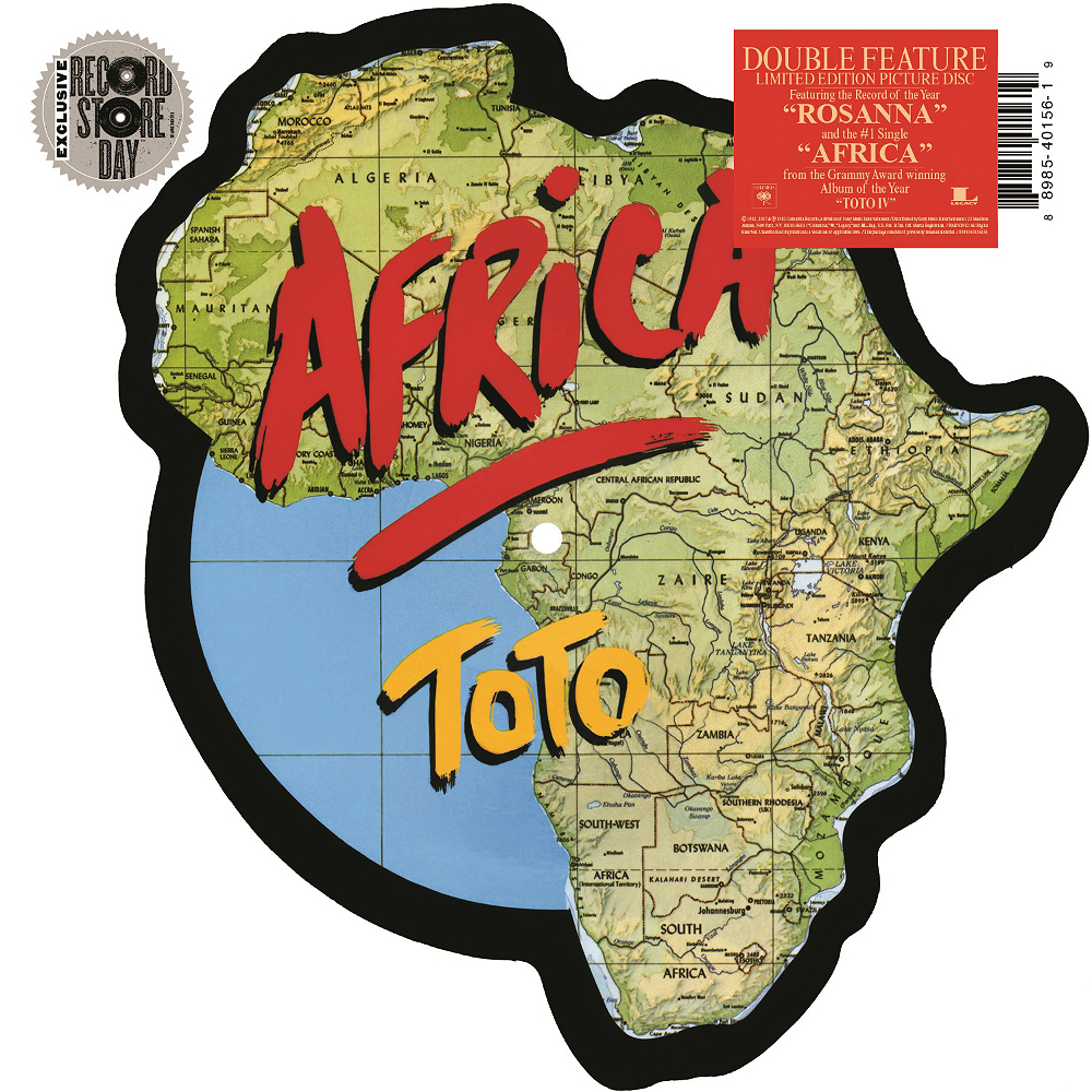 Toto's 'Africa'-shaped picture disc for Record Store Day 2017