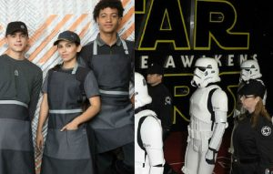 McDonald's staff and people dressed as characters from 'Star Wars'