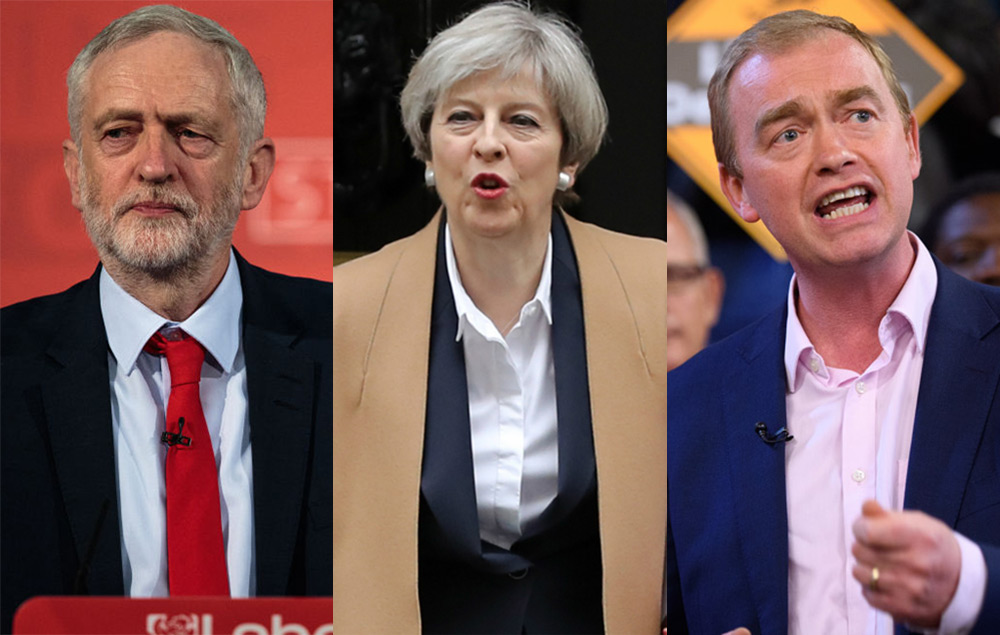 Jeremy Corbyn, Theresa May and Tim Farron