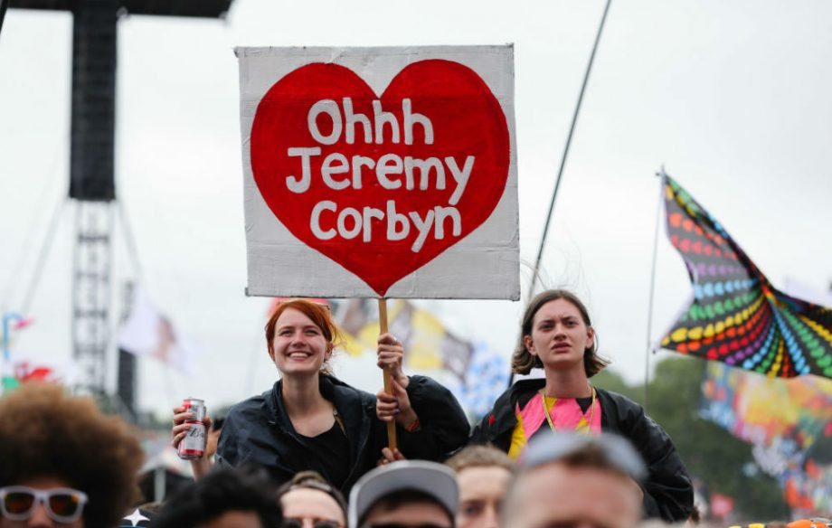 Saturday: Fans gather at mainstage for Jeremy Corbyn