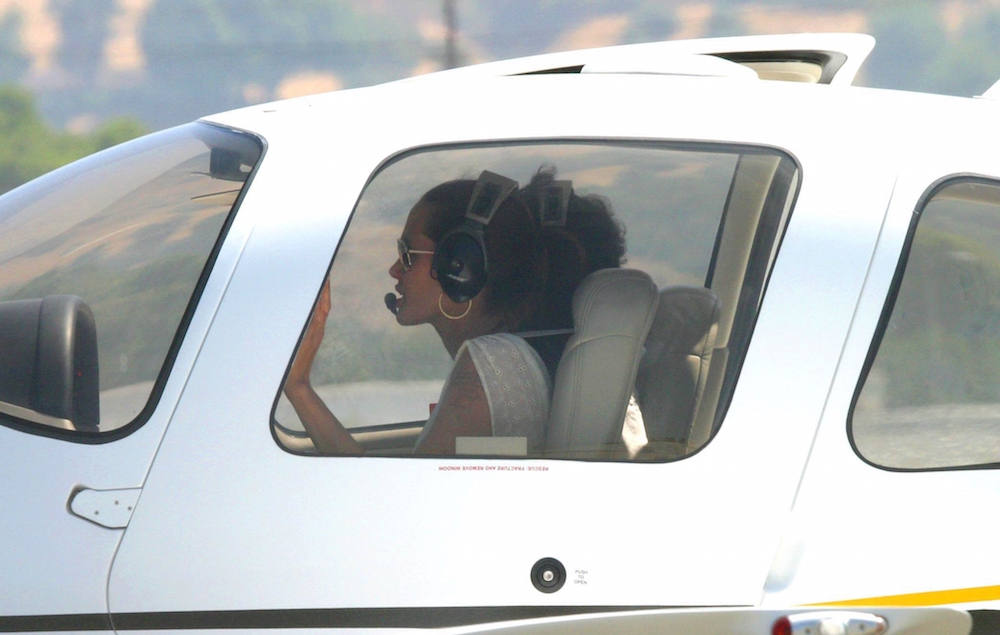 ANGELINA JOLIE FLYING LESSONS IN LOS ANGELES