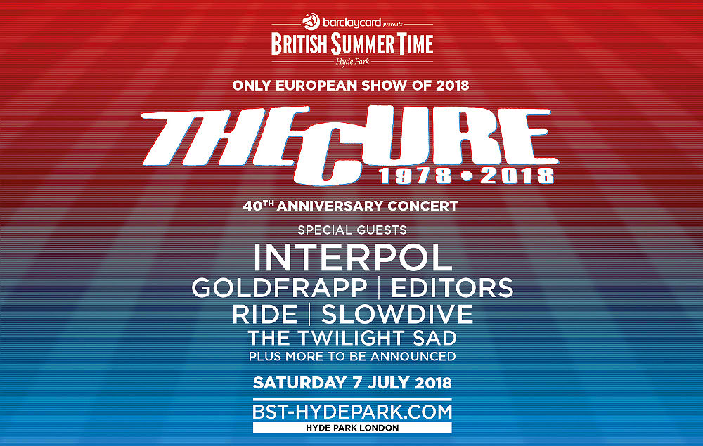 The Cure will be headlining London's British Summer Time Festival 2018