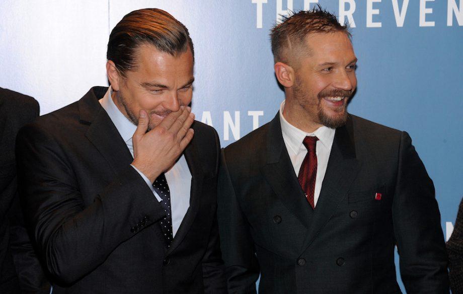 2e6448e14 Tom Hardy tattoo Leonardo DiCaprio and Tom Hardy at the London premiere for  'The Revenant'