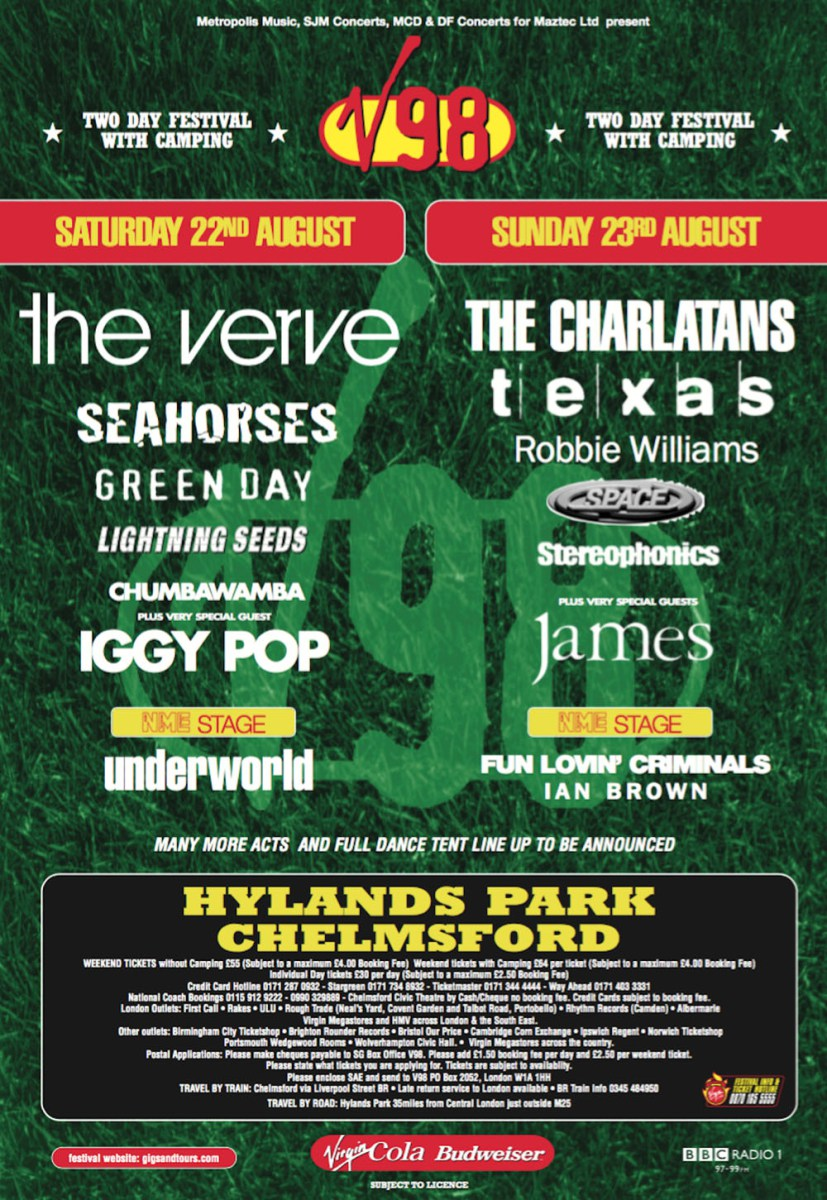 every v festival poster and line-up since 1996