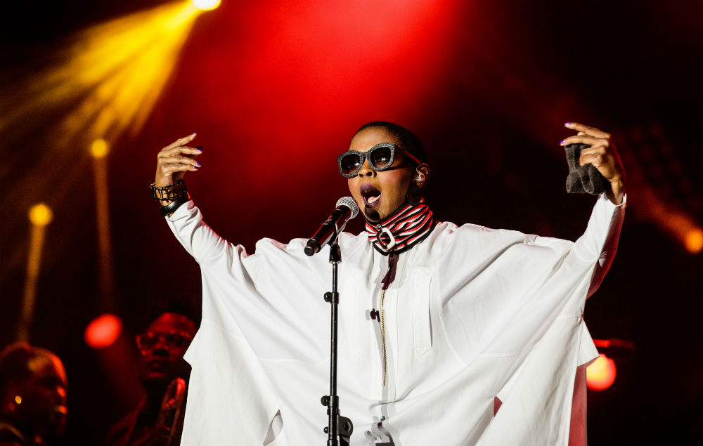 The American Singer of hip hop and soul, Lauryn Hill plays in concert during the 'Festival de l humanite'