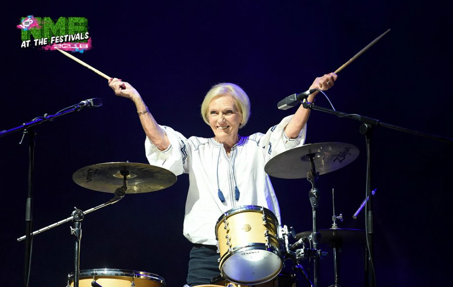 Watch Mary Berry play drums with Rick Astley at Camp Bestival