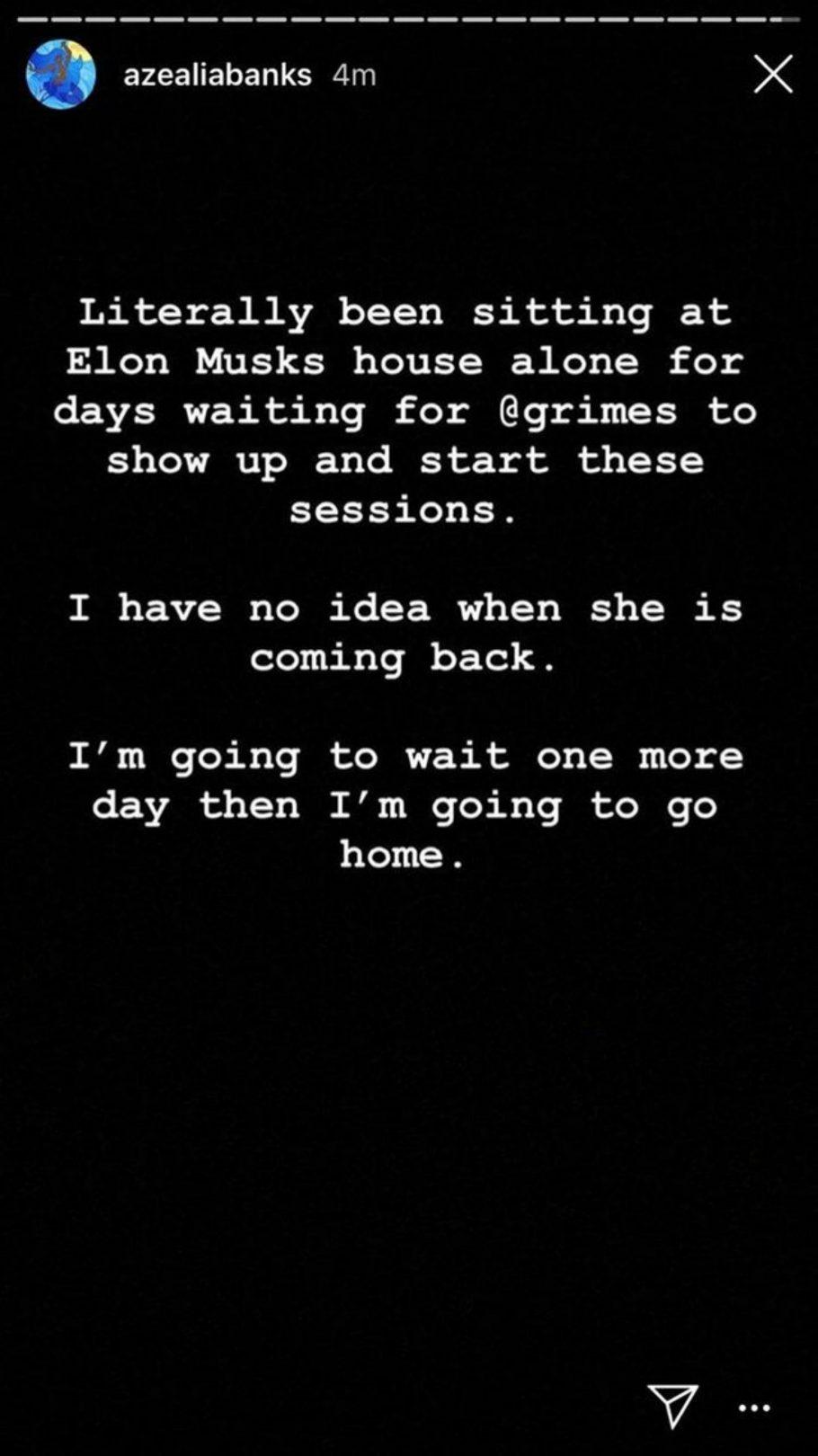Azealia Banks napok óta Elon Musk házában várakozik a milliárdos csajára, Grimesra 1