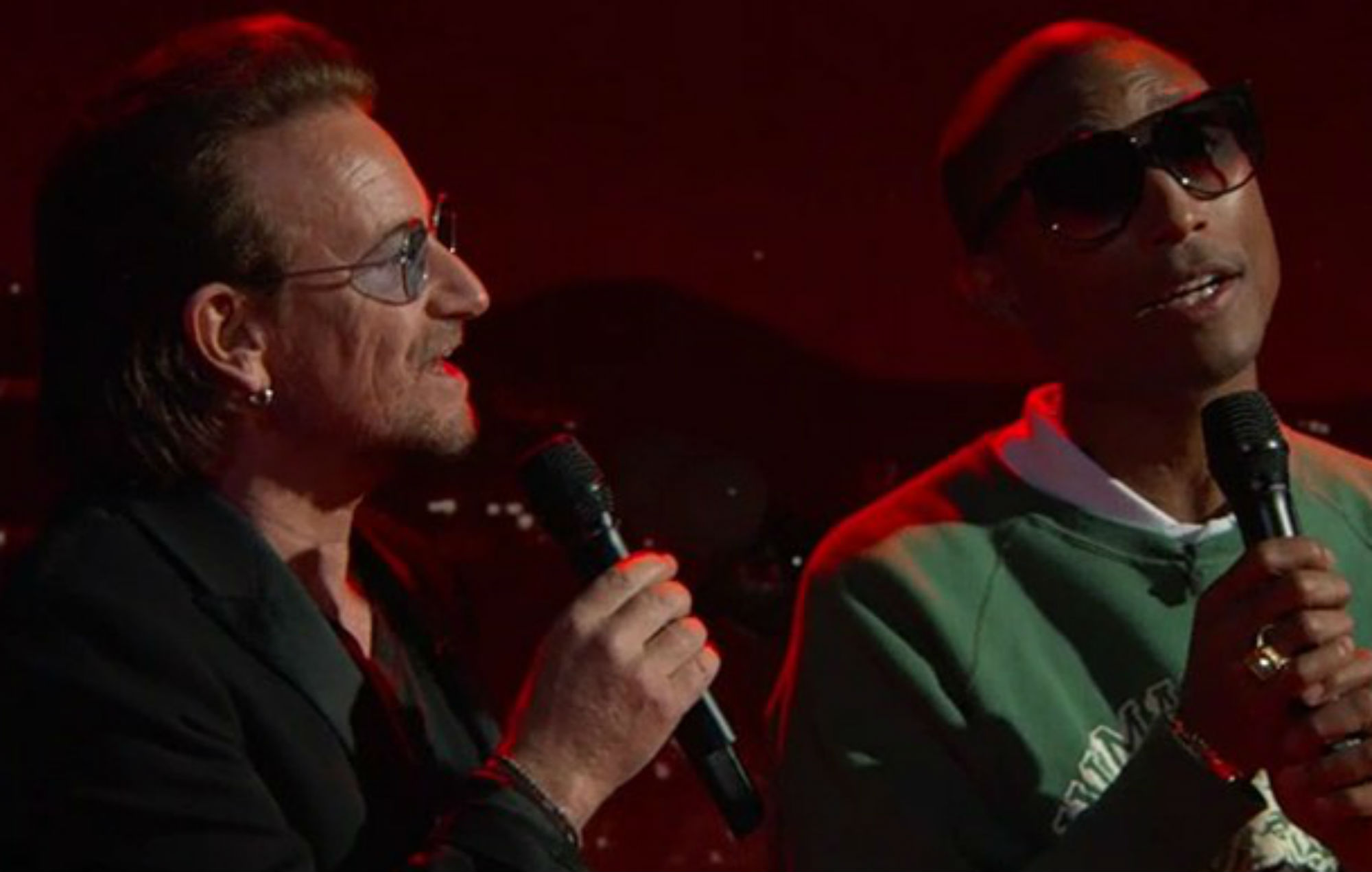 Watch Bono And Pharrell Williams Cover The Bee Gees