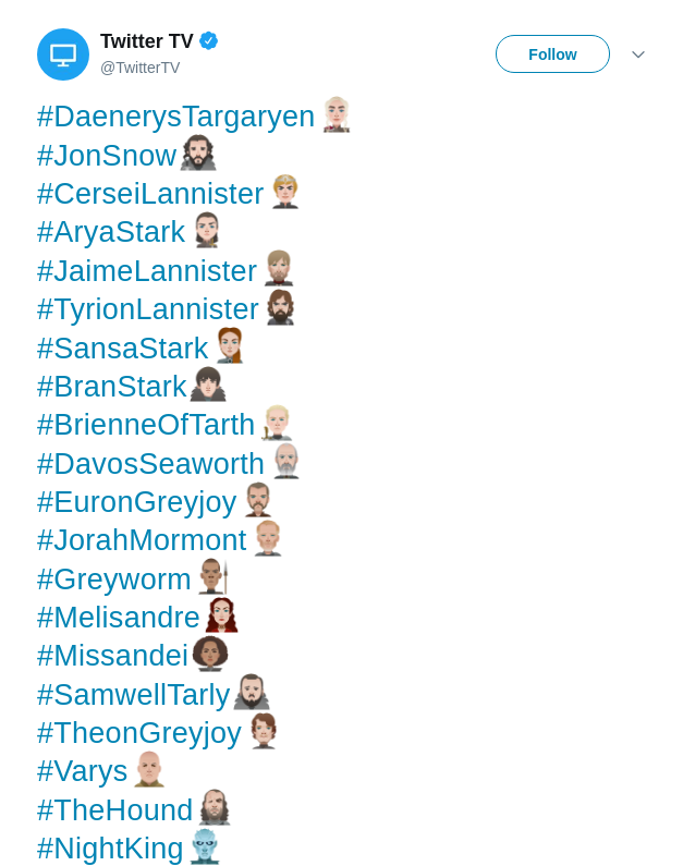 A set of official 'Game Of Thrones' Twitter emojis have arrived