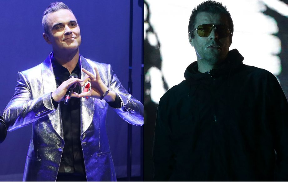 Robbie Williams calls on his fans to have a go at Liam Gallagher on Twitter