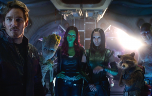 Rocket (far right) with the Guardians of the Galaxy