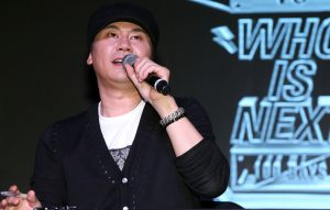 "This photo taken on August 20, 2013 shows YG entertainment CEO Yang Hyun-suk attending tvN's new reality show ""WIN"" production announcement in Seoul"