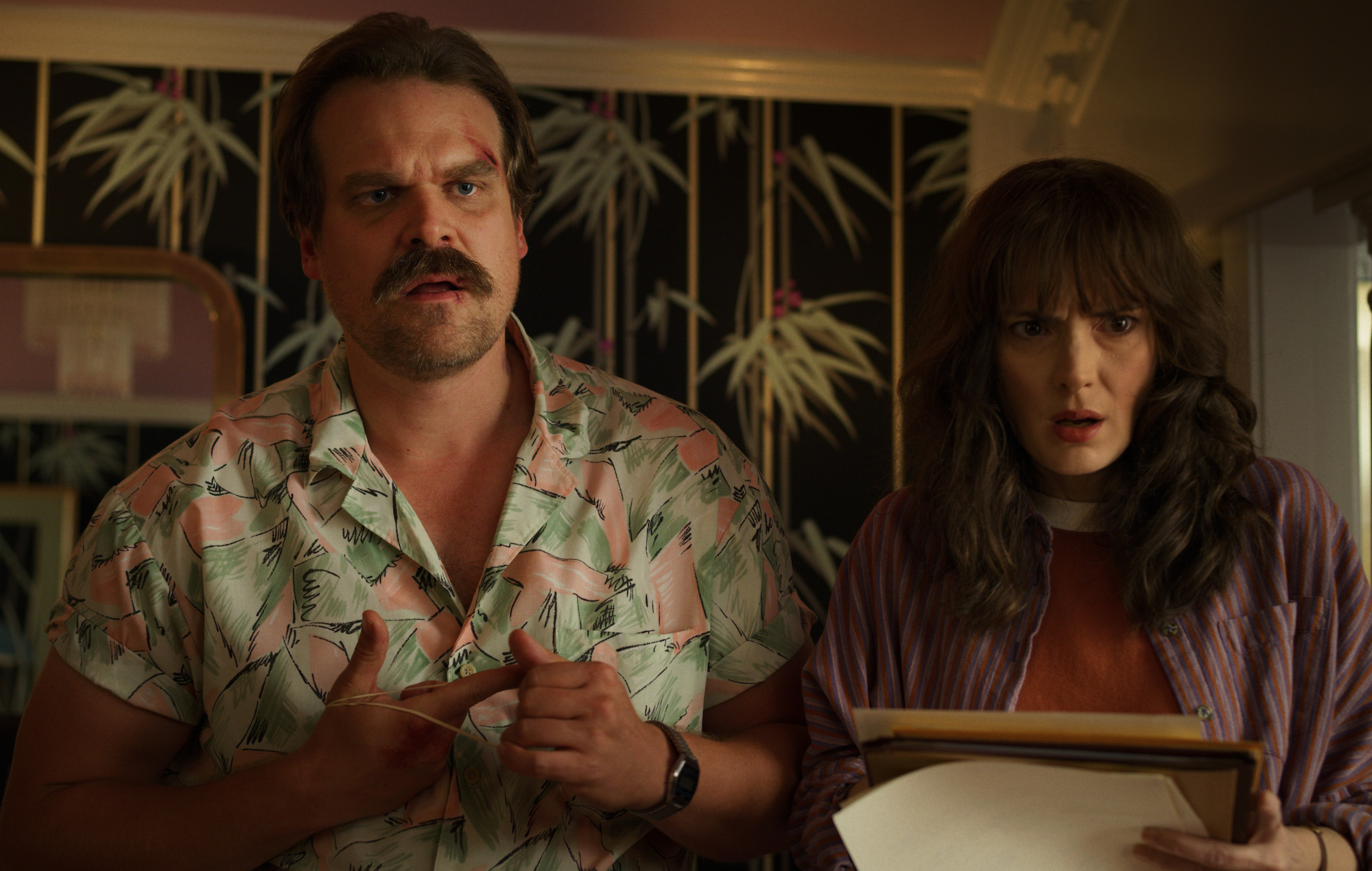 Hopper and Joyce in Stranger Things