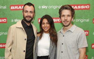 (L-R) Joseph Gilgun, Michelle Keegan and Damien Molony attend the preview of Sky original Brassic