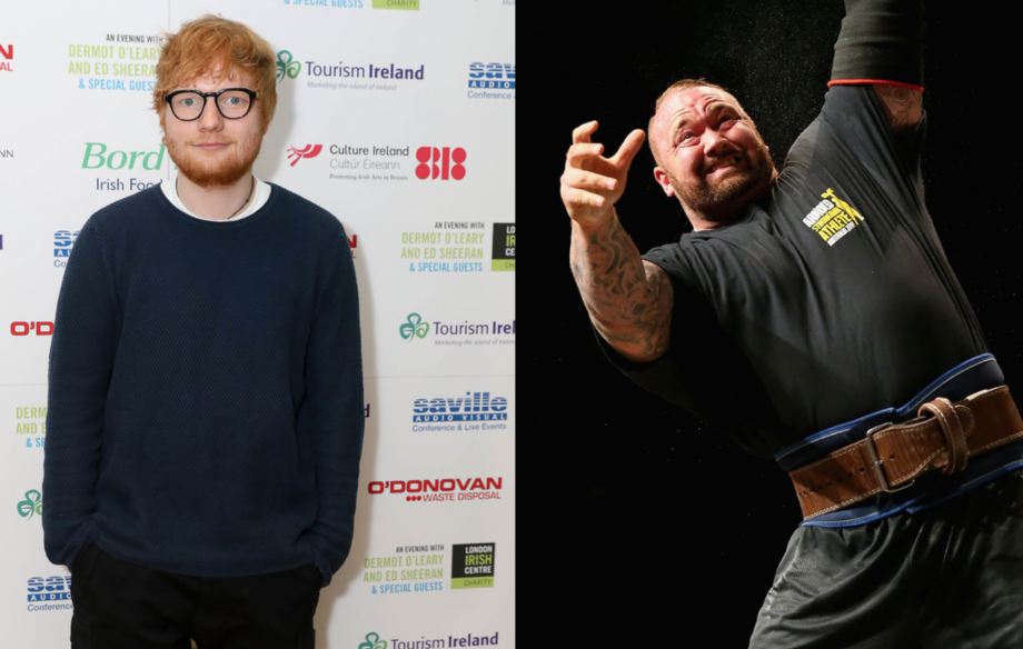 Watch Ed Sheeran get lifted over the head of 'Game of Thrones' star The Mountain