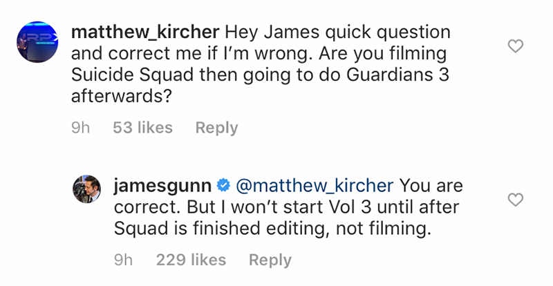 James Gunn confirms Guardians 3 filming will start after Suicide Squad is done editing